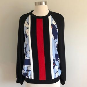 NEW Black Red Mixed Print Long Sleeve Top size XS
